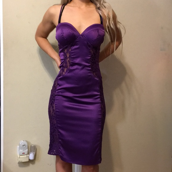 ANGL Dresses & Skirts - Angl purple lace satin dress size small, sold out